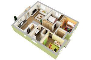 расположение комнат в доме 100 квадратных метров