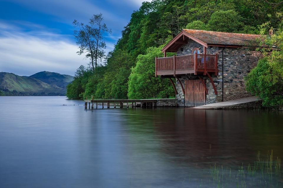 Дом Лодки, Коттедж, Воды, Озеро, Шотландия, Синий